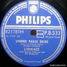 Discos de pizarra: DISCOS 78 RPM - LIBERACE - PIANO - ORQUESTA - UNDER PARIS SKIES - SINCERELY YOURS - PIZARRA. Lote 126391155