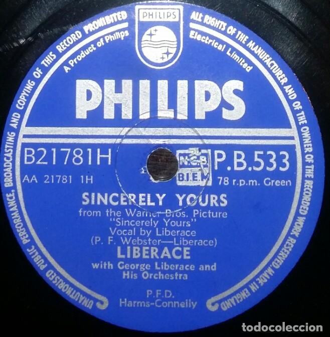 Discos de pizarra: DISCOS 78 RPM - LIBERACE - PIANO - ORQUESTA - UNDER PARIS SKIES - SINCERELY YOURS - PIZARRA - Foto 2 - 126391155