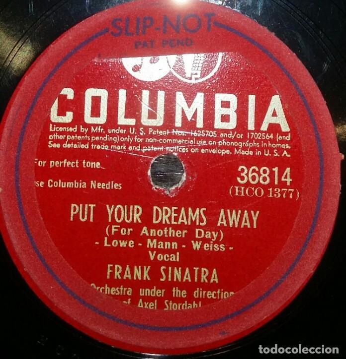 DISCOS 78 RPM - FRANK SINATRA - PUT YOUR DREAMS AWAY - IF YOU ARE BUT A DREAM - PIZARRA (Música - Discos - Pizarra - Solistas Melódicos y Bailables)