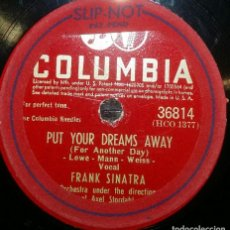 Discos de pizarra: DISCOS 78 RPM - FRANK SINATRA - PUT YOUR DREAMS AWAY - IF YOU ARE BUT A DREAM - PIZARRA. Lote 126391699