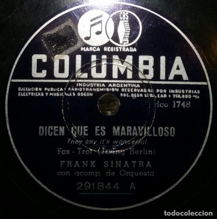 DISCOS 78 RPM - FRANK SINATRA - DICEN QUE ES MARAVILLOSO - ERES DEMASIADO LINDA - PIZARRA (Música - Discos - Pizarra - Solistas Melódicos y Bailables)