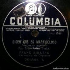 Discos de pizarra: DISCOS 78 RPM - FRANK SINATRA - DICEN QUE ES MARAVILLOSO - ERES DEMASIADO LINDA - PIZARRA. Lote 126839211
