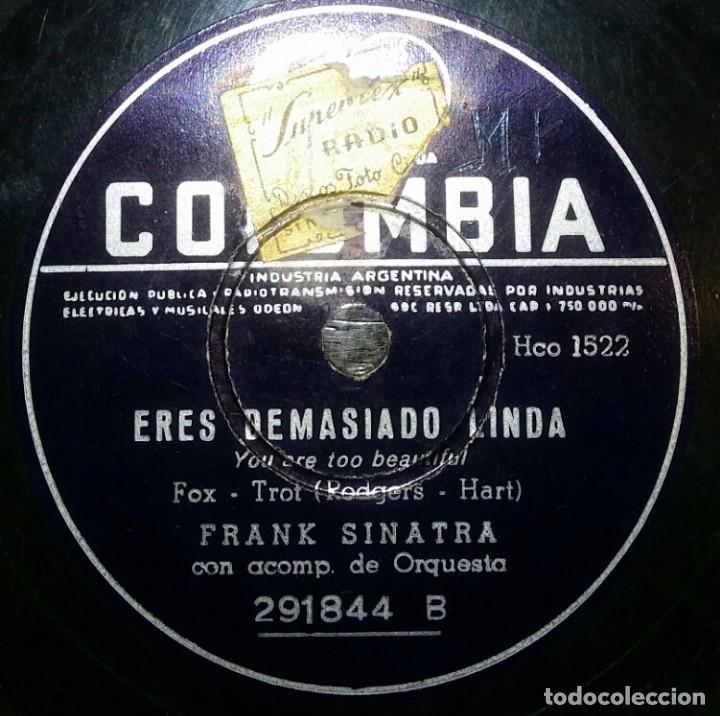 Discos de pizarra: DISCOS 78 RPM - FRANK SINATRA - DICEN QUE ES MARAVILLOSO - ERES DEMASIADO LINDA - PIZARRA - Foto 2 - 126839211
