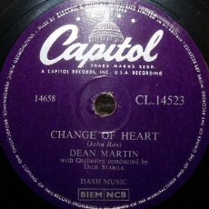 Discos de pizarra: DISCOS 78 RPM - DEAN MARTIN - ACTOR - CHANGE OF HEART - MEMORIES ARE MADE OF THIS - PIZARRA. Lote 126841615