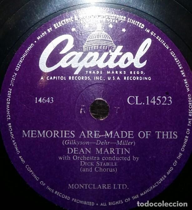 Discos de pizarra: DISCOS 78 RPM - DEAN MARTIN - ACTOR - CHANGE OF HEART - MEMORIES ARE MADE OF THIS - PIZARRA - Foto 2 - 126841615