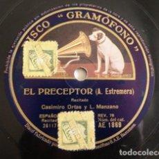 Discos de pizarra: CASIMIRO ORTAS, LUIS MANZANO - EL PRECEPTOR / PALIZA MACABRA - GRAMÓFONO 261176. Lote 127564679