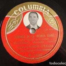 Discos de pizarra: ALEJANDRO ULLOA - ROMANZA DE LA INFANTA ISABEL (RAFAEL DUYOS) - COLUMBIA R 14867. Lote 127808639