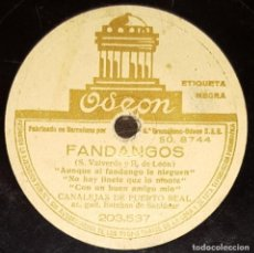 Discos de pizarra: DISCOS 78 RPM - CANALEJAS DE PUERTO REAL - ESTEBAN DE SANLÚCAR - GUITARRA - FANDANGOS - PIZARRA. Lote 128094867