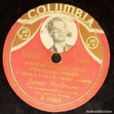 Discos de pizarra: DISCOS 78 RPM - JUANITO VALDERRAMA - ORQUESTA - ALEGRÍAS DE JUAN VÉLEZ - PIZARRA. Lote 128095339