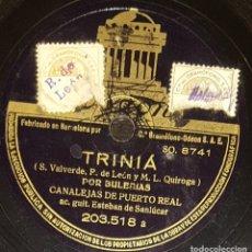 Discos de pizarra: DISCOS 78 RPM - CANALEJAS DE PUERTO REAL - ESTEBAN DE SANLÚCAR - GUITARRA - TRINIÁ - PIZARRA. Lote 128102103