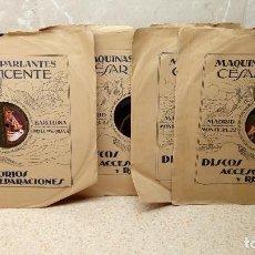 Discos para gramofone: LOTE 4 DISCOS DE PIZARRA FABRICADOS EN ESPAÑA CON FUNDA CESAR VICENTE, ODEON Y LA VOZ DE SU AMO.. Lote 129372507