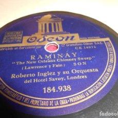 Discos de pizarra: ROBERTO INGLEZ ORQUESTA RAMINAY/DELICADO 10 PULGADAS 25 CTMS ODEON 184.938 SPAIN PIZARRA. Lote 130264138