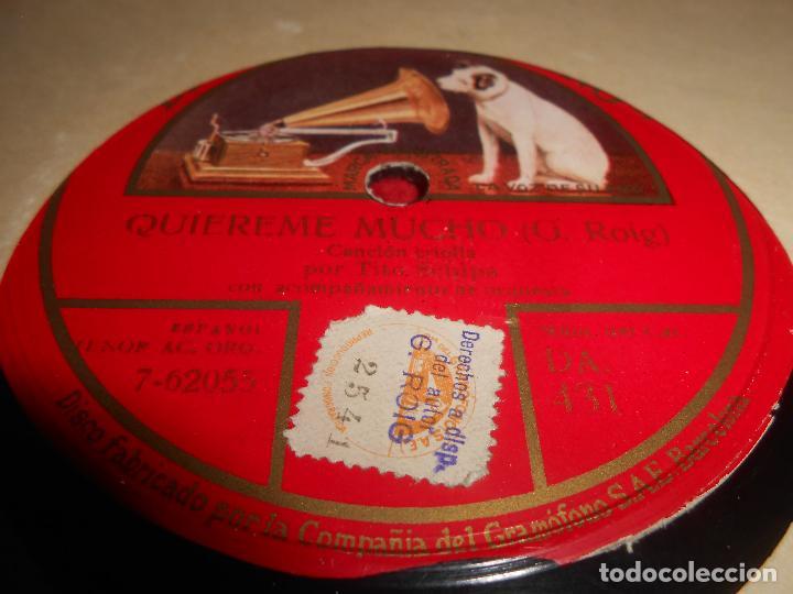 TITO SCHIPA ORQUESTA QUIEREME MUCHO/A LA ORILLA DE UN PALMAR 10 PULGADAS 25 CTMS GRAMOFONO DA 431 SP (Música - Discos - Pizarra - Solistas Melódicos y Bailables)