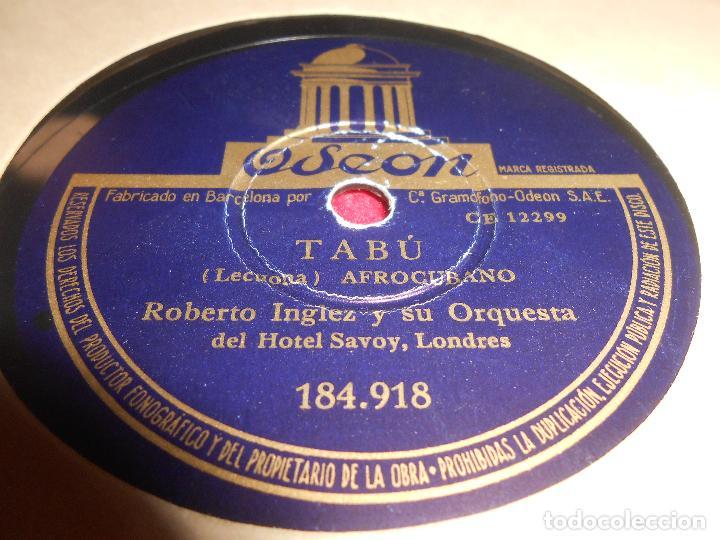 ROBERTO INGLEZ TABU/UN LUGAR EN EL SOL 10 PULGADAS 25 CTMS ODEON 184.918 SPAIN ESPAÑA (Música - Discos - Pizarra - Solistas Melódicos y Bailables)