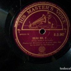 Discos de pizarra: QUENTIN REYNOLDS - DEAR MR. S...(ALIAS ADOLF HITLER) - 2 DISCOS 78 RPM, AUGUST 1941. Lote 131164292