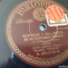 Discos de pizarra: DISCO DE PIZARRA JUAN GARCIA. Lote 131614814