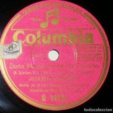 Discos de pizarra: DISCOS 78 RPM - JUANITA REINA - ORQUESTA - PASODOBLE - ZAMBRA - PIZARRA. Lote 132282186