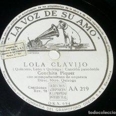 Discos de pizarra: DISCOS 78 RPM - CONCHITA PIQUER - ORQUESTA - ROMANCE DE LA OTRA - LOLA CLAVIJO - PIZARRA. Lote 132288130