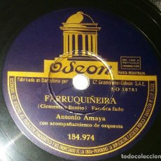 Discos de pizarra: DISCOS 78 RPM - ANTONIO AMAYA - ORQUESTA - FARRUCA FADO - PASODOBLE - DOCE CASCABELES - PIZARRA. Lote 132462898