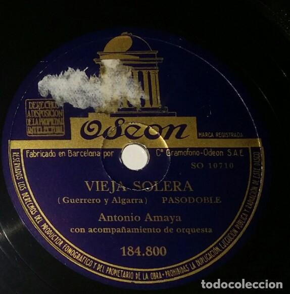 Discos de pizarra: DISCOS 78 RPM - ANTONIO AMAYA - ORQUESTA - ZAMBRA FARRUCA - LA MARE MIA - PASODOBLE - PIZARRA - Foto 2 - 132466186