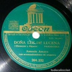 Discos de pizarra: DISCOS 78 RPM - ANTONIO AMAYA - ORQUESTA - PASODOBLE - BULERÍAS - CANTARES DE JOSELÉ - PIZARRA. Lote 132467298