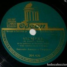Discos de pizarra: DISCOS 78 RPM - ANTONIO AMAYA - ORQUESTA - BOLERO - EMISORA FILMS - PELÍCULA - FARRÉS - PIZARRA. Lote 132468442