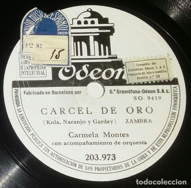 Discos de pizarra: DISCOS 78 RPM - CARMELA MONTES - ORQUESTA - SEVILLANAS DEL TORO NEGRO - ZAMBRA - PIZARRA - Foto 2 - 132471798