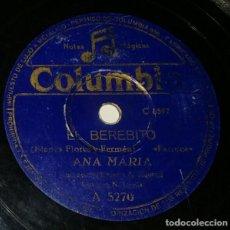 Discos de pizarra: DISCOS 78 RPM - ANA MARÍA - ORQUESTA - FARRUCA - EL BEREBITO - PASODOBLE - PEPE MAIRENA - PIZARRA. Lote 132472398