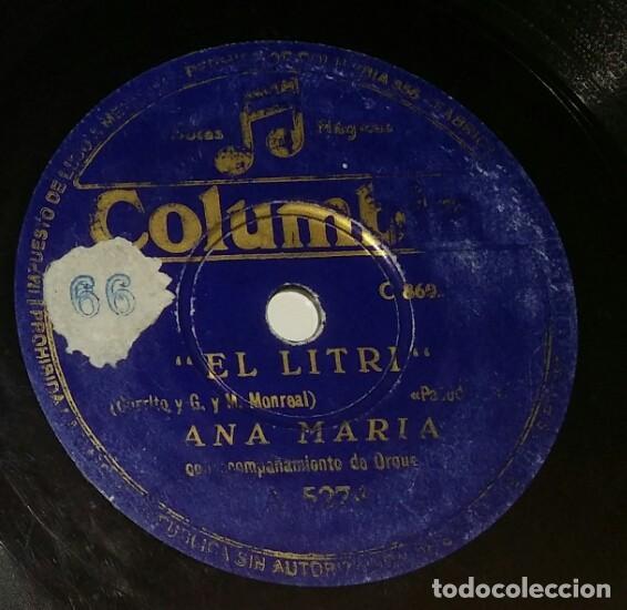 Discos de pizarra: DISCOS 78 RPM - ANA MARÍA - ORQUESTA - ZAMBRA - PASODOBLE - EL LITRI - PIZARRA - Foto 2 - 132472846