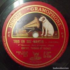 Discos de pizarra: TRIO EN SOL MAJEUR, HAYDIN, 10 PULGADAS, 78 RPM, HACIA 1930, LA VOZ DE SU AMO. Lote 132883762