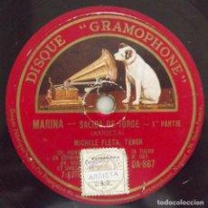 Discos de pizarra: MARINA, SALIDA DE JORGE, ARRIETA, 10 PULGADAS, 78 RPM, HACIA 1930, LA VOZ DE SU AMO. Lote 132883978