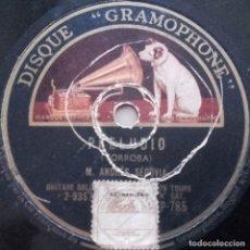 Discos de pizarra: FANDANGUILLO, PRELUDIO, ANDRES SEGOVIA, TORROBA, GRAMOPHONE, LA VOZ DE SU AMO, 10 PULGADAS, 78 RPM. Lote 132894494