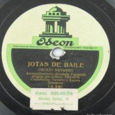 Discos de pizarra: DISCO DE PIZARRA ODEON, DE CECILIO NAVARRO, JOTAS DE RONDA, ACOMP. RONDALLA PIGNATELLI DIRIGIDA POR . Lote 132985762