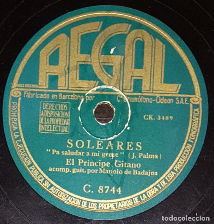 DISCOS 78 RPM - EL PRÍNCIPE GITANO - MANOLO DE BADAJOZ - GUITARRA - SOLEARES - FANDANGOS - PIZARRA (Música - Discos - Pizarra - Flamenco, Canción española y Cuplé)