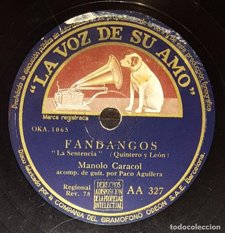Discos de pizarra: DISCOS 78 RPM - MANOLO CARACOL - LOLA FLORES - GUITARRA - PACO AGUILERA - ZAMBRA - PIZARRA - Foto 2 - 133040238