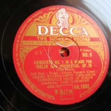 Discos de pizarra: CONCERTO NO. 1 IN G MINOR FOR VIOLIN AND ORCHESTRA, 3 DISCO PIZARRA DECCA, GEORG KULENKAMPFF, ZURICH. Lote 133294321