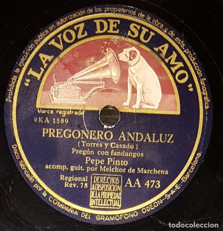 Discos de pizarra: DISCOS 78 RPM - PEPE PINTO - MELCHOR DE MARCHENA - GUITARRA - CANTES NUEVOS - PREGÓN - PIZARRA - Foto 2 - 133297938