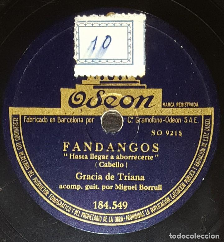 DISCOS 78 RPM - GRACIA DE TRIANA - MIGUEL BORRULL - GUITARRA - FANDANGOS - PIZARRA (Música - Discos - Pizarra - Flamenco, Canción española y Cuplé)