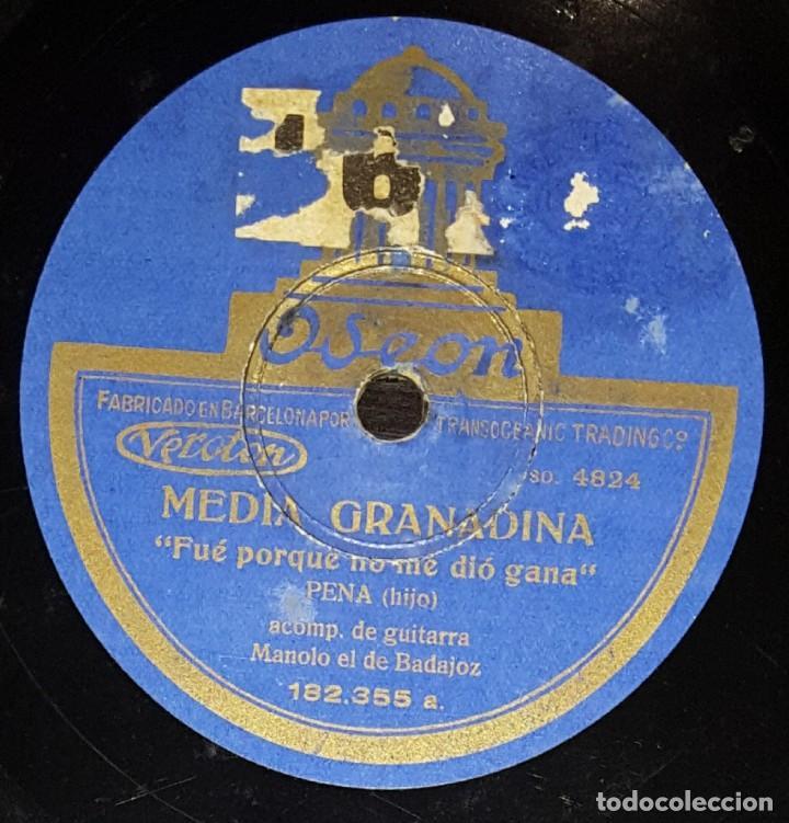 DISCOS 78 RPM - EL PENA HIJO - MANOLO DE BADAJOZ - GUITARRA - MEDIA GRANADINA - FANDANGO - PIZARRA (Música - Discos - Pizarra - Flamenco, Canción española y Cuplé)