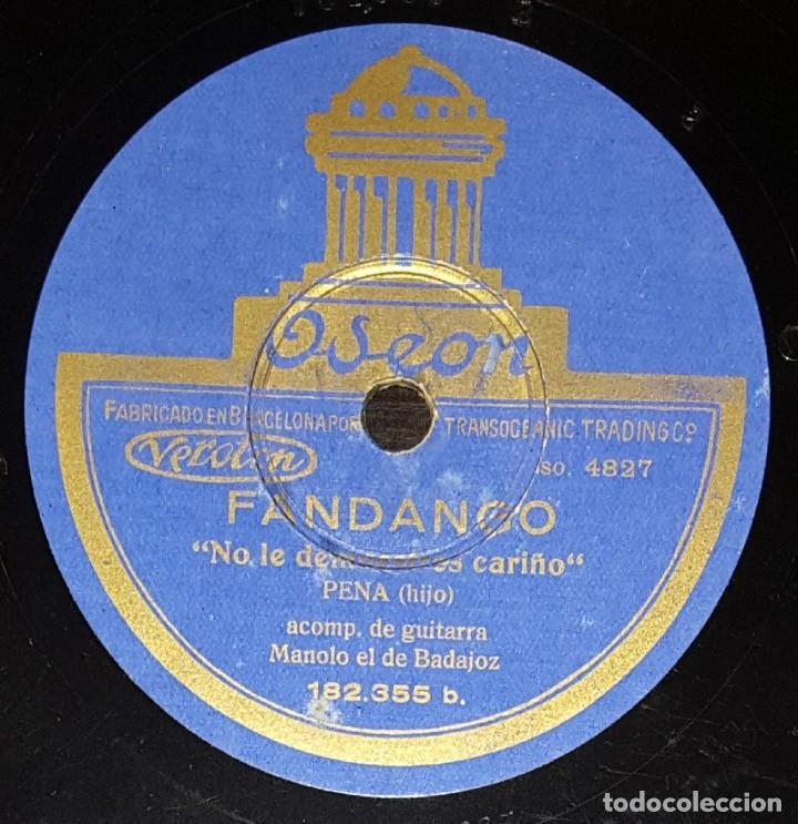 Discos de pizarra: DISCOS 78 RPM - EL PENA HIJO - MANOLO DE BADAJOZ - GUITARRA - MEDIA GRANADINA - FANDANGO - PIZARRA - Foto 2 - 133300558