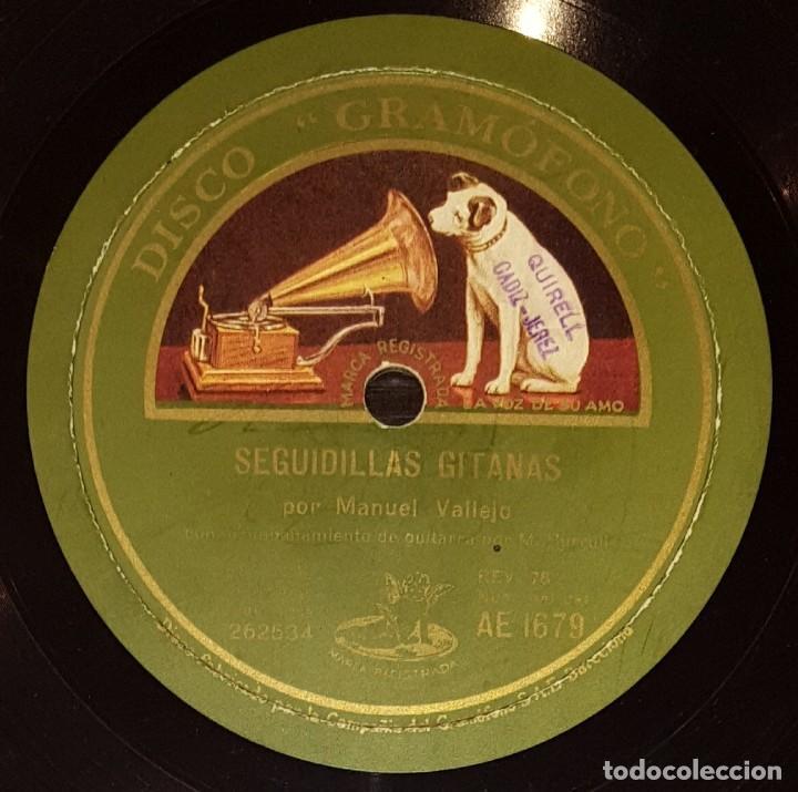 Discos de pizarra: DISCOS 78 RPM - MANUEL VALLEJO - GUITARRA - BULERÍAS - SEGUIDILLAS GITANAS - PIZARRA - Foto 2 - 133301334