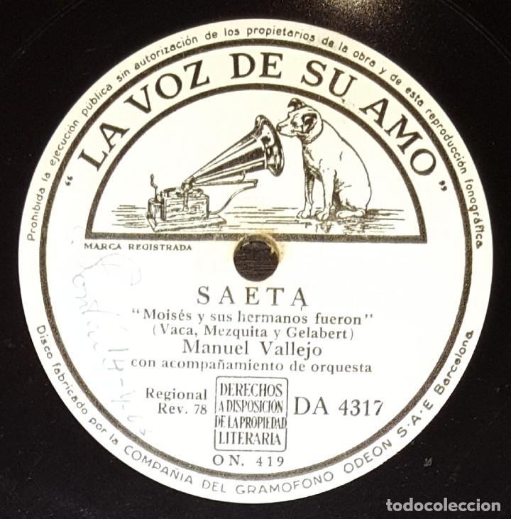 Discos de pizarra: DISCOS 78 RPM - MANUEL VALLEJO - ORQUESTA - SAETA - CASI AL CALVARIO CAMINA - PIZARRA - Foto 2 - 133302342