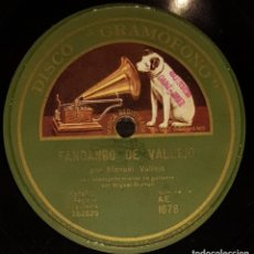 Discos de pizarra - DISCOS 78 RPM - MANUEL VALLEJO - MIGUEL BORRULL - GUITARRA - FANDANGO - MEDIA GRANADINA - PIZARRA - 133563434