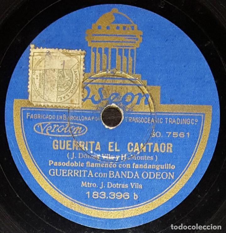Discos de pizarra: DISCOS 78 RPM - GUERRITA - BANDA ODEON - DANZÓN CUBANO - PASODOBLE CON FANDANGUILLO - PIZARRA - Foto 2 - 133567358
