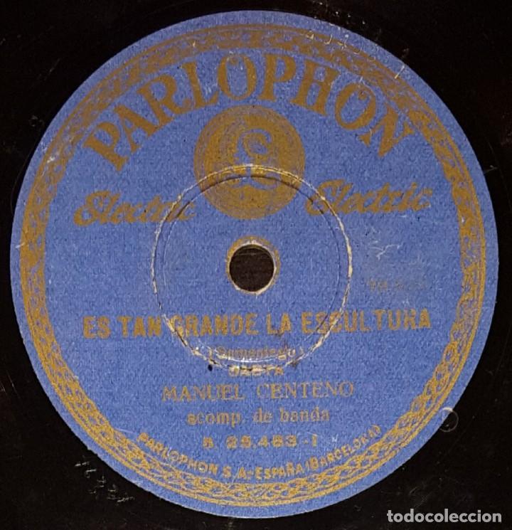 DISCOS 78 RPM - MANUEL CENTENO - BANDA - SAETA - ES TAN GRANDE LA ESCULTURA - PIZARRA (Música - Discos - Pizarra - Flamenco, Canción española y Cuplé)