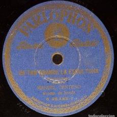 Discos de pizarra: DISCOS 78 RPM - MANUEL CENTENO - BANDA - SAETA - ES TAN GRANDE LA ESCULTURA - PIZARRA. Lote 133568038