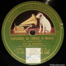 Discos de pizarra: DISCOS 78 RPM - NIÑO DE MARCHENA - GUITARRA - FANDANGOS DE CUMBRE - MILONGA - PIZARRA. Lote 133649246