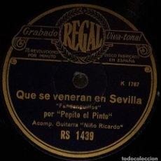 Discos de pizarra: DISCOS 78 RPM - PEPE PINTO - NIÑO RICARDO - GUITARRA - FANDANGUILLOS - PIZARRA. Lote 133652710