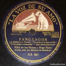 Discos de pizarra: DISCOS 78 RPM - NIÑA DE LOS PEINES - PEPE PINTO - MELCHOR DE MARCHENA - FANDANGOS - PIZARRA. Lote 133654458