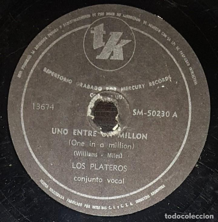 DISCOS 78 RPM - LOS PLATEROS (THE PLATTERS) - ONE IN A MILLION / REMEMBER  WHEN - PIZARRA